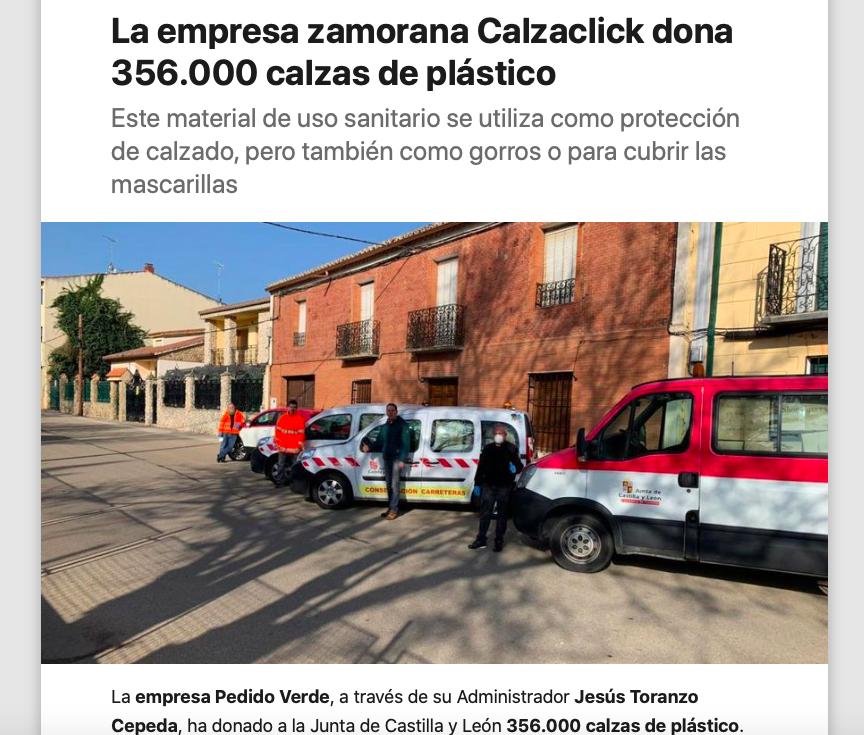 CalzaClick dona a la sanidad pública más de 350.000 calzas desechables
